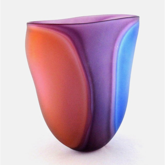 Red Beautiful Samphire Frosted Glass Vase - Cobalt, Wine, and Red For Sale - Image 8 of 11