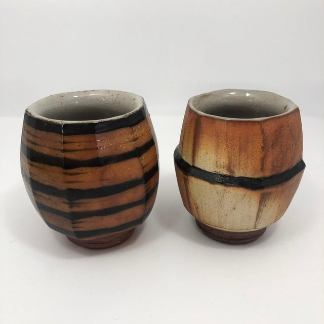 Japanese Style Faceted Yunomi Studio Pottery Cups, Marked - a Pair For Sale - Image 4 of 13