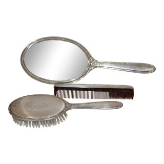 Vintage Sterling Silver Mirror, Brush and Comb Vanity Set For Sale