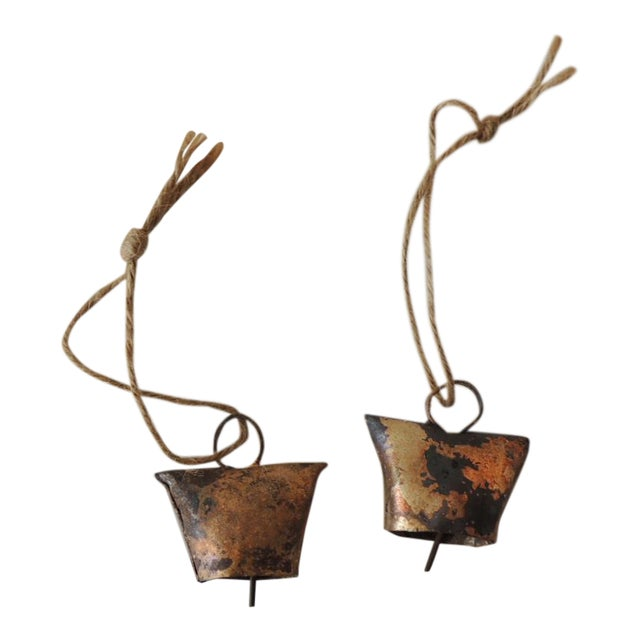 Gold Leaf Iron Indian Holiday Christmas Tree Ornaments - a Pair For Sale