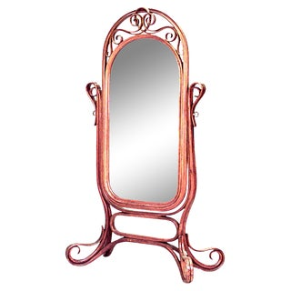 Bentwood Thonet Oak Cheval Mirror For Sale