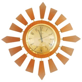 1950s Anstey Wilson England Brass and Teak Sunburst Clock, England For Sale