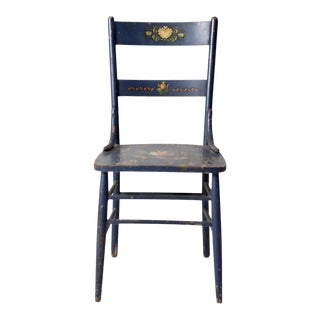 Antique Blue Stencil Back Chair For Sale