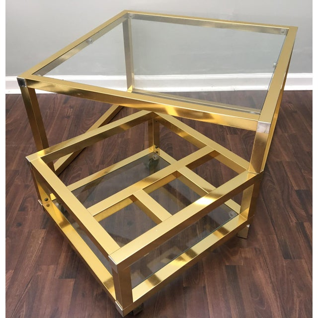 Cubist Brass Swivel Coffee Table with Wine Rack After Milo Baughman - Image 2 of 7
