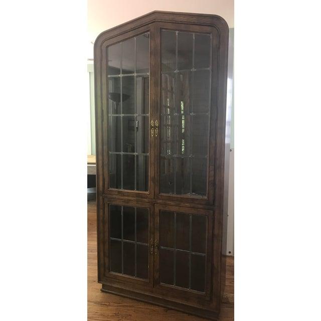 Glass Henredon Lighted Walnut Display Cabinet For Sale - Image 7 of 11