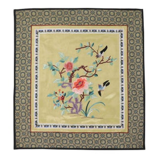 Vintage Asian Antique Silk Embroidery Cloth With Sparrows and Golden Backdrop For Sale