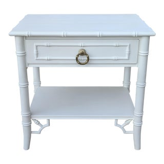 White Faux Bamboo End Table Nightstand For Sale