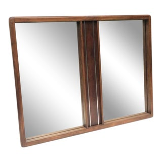 Vintage Modern Walnut Mirror For Sale