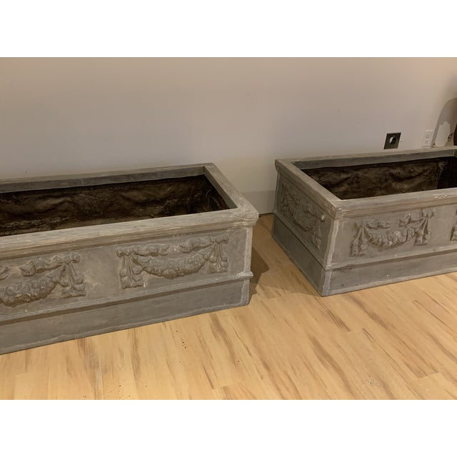 2000 - 2009 Grand Classical Planters With Swag Detailing in Faux Lead Resin - a Pair For Sale - Image 5 of 10