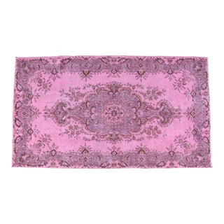 Contemporary Turkish Hand Knotted Rug Pink Overdyed Area Rug - 3′10″ X 6′10″ For Sale