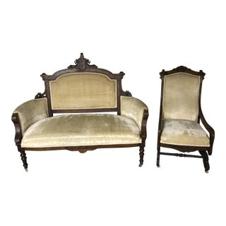 Mid 19th Century Antique Ornate Victorian Walnut Seating Set- 2 Pieces For Sale