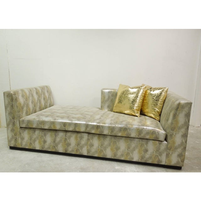 Modern Contemporary Custom Made Modern Metallic Leather Sofa/Chaise For Sale - Image 3 of 6