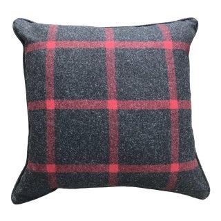 British Dark Gray/Red Tartan Plaid Pillow For Sale