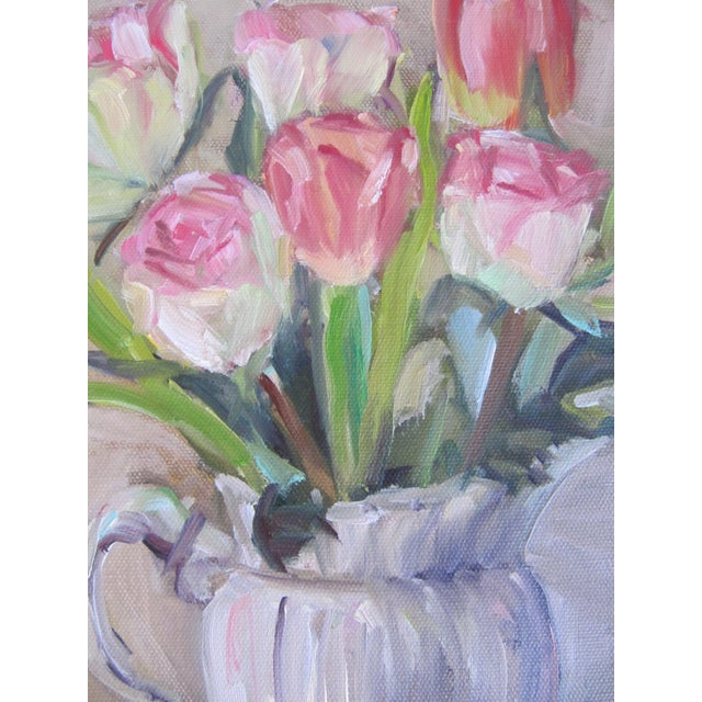 Tulips in a Pitcher Painting For Sale - Image 4 of 5