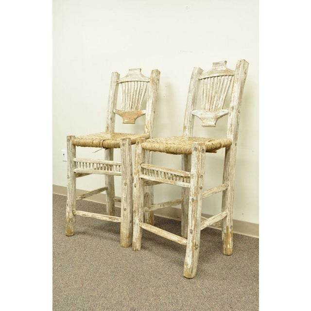 Primitive 2 Rustic Country Log Cabin Wood Branch Rush Seat Bar Stools Chair Hickory Style For Sale - Image 3 of 11