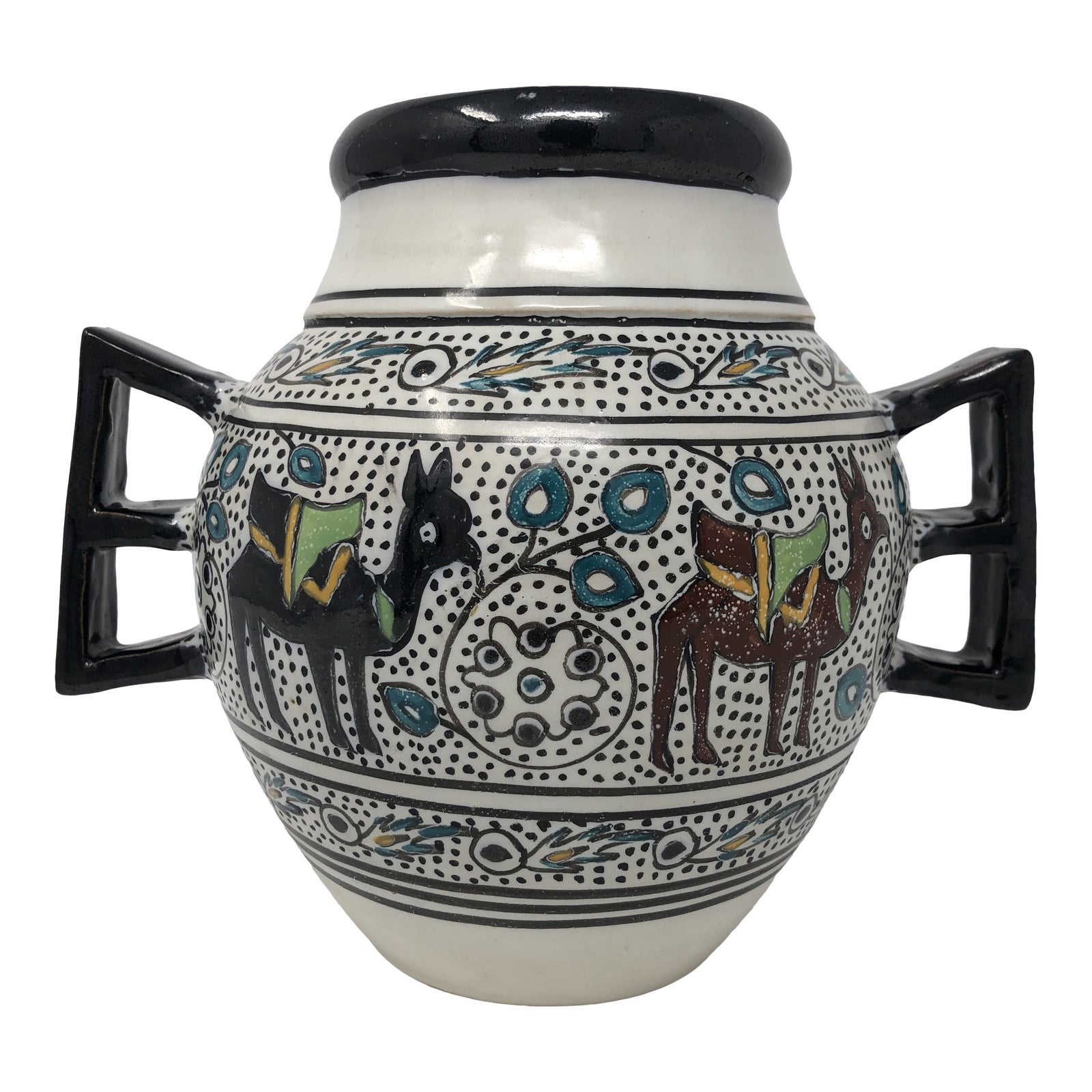 Vintage Signed Middle Eastern Persian Pottery Vase