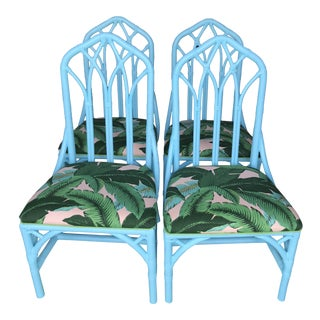 Coastal Regency Lexington Cathedral Turquoise Palm Leaf Upholstered Chairs-Four For Sale