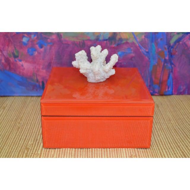 Coral & Orange Glass Trinket Box - Image 2 of 11