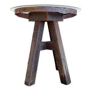 Antique Rustic Anvil Stand Table W/Glass Top
