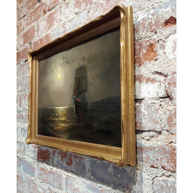Canvas 19th Century Ship Sailing by Moonlight -Oil Painting Signed by Miller For Sale - Image 7 of 9