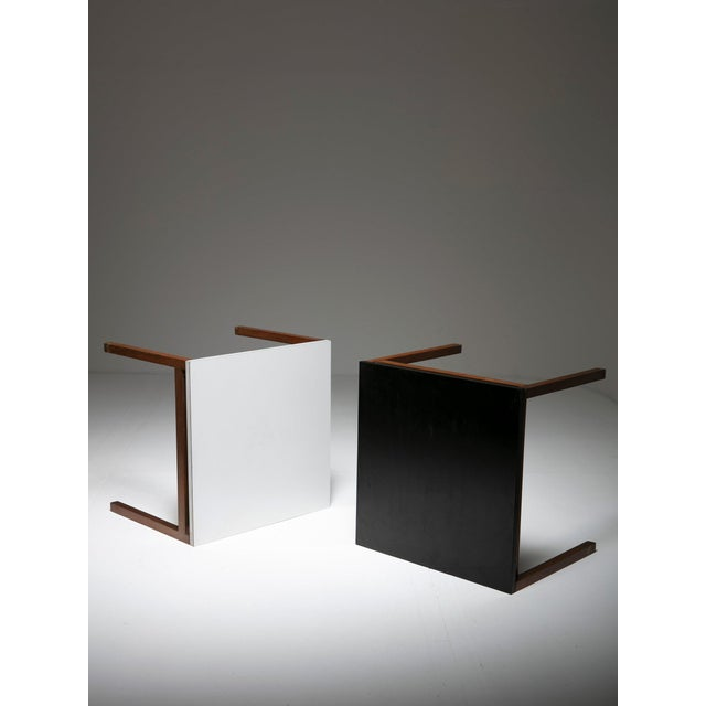 Rare set of two side tables - night stands by Florence Knoll for Knoll. Matching black and white top set.