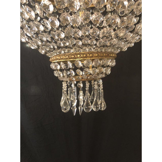 Bronze Large French Antique Louis XVI Style Bronze and Crystal Chandelier For Sale - Image 8 of 11