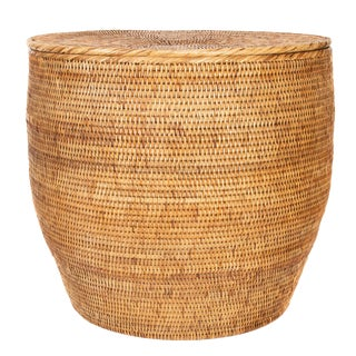 Artifacts Rattan Round End Table With Lid For Sale
