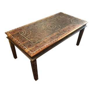 Bone Inlay Carved Wood Hand - Made Large Table For Sale