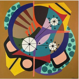 """Sparkling Wheel"" Acrylic Painting on Canvas by Amauri Torezan For Sale"