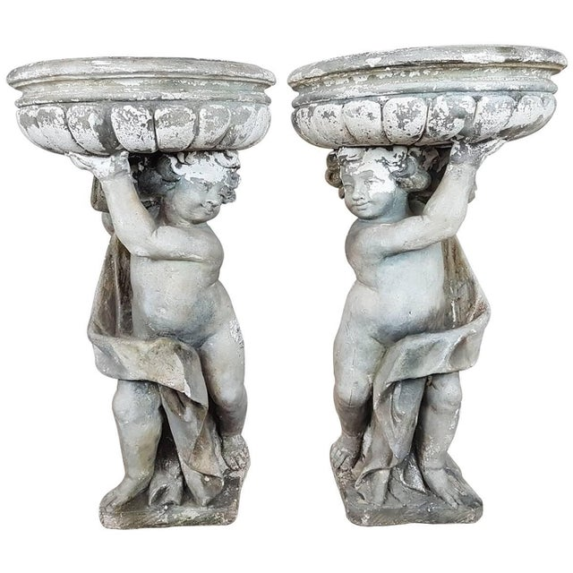 Gray 20th Century Italian Neoclassical Garden Pots With Statues Set, Garden Ornament For Sale - Image 8 of 8