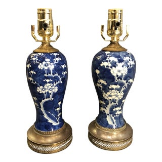 20th Century Chinese Blue and White Lamps - a Pair For Sale