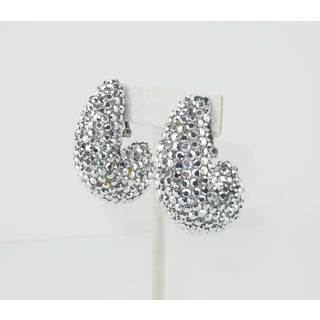 1980's Richard Kerr Nautilus Shaped Silver Pave Crystal Earrings Preview