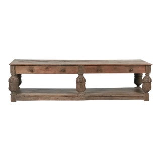 Large Old English Oak Coffee Table For Sale
