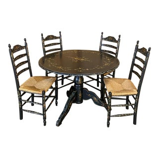 Antique Ebonized & Hand-Painted Swiss Game Table With 4 Chairs For Sale