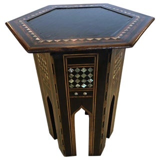 Moroccan Side Table With Mother of Pearl Inlay