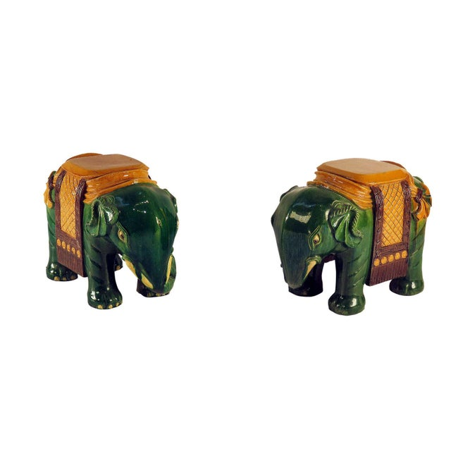 Ceramic Circa 1850 Ching Dynasty Green Glazed Elephant Garden Seats - A Pair For Sale - Image 7 of 7