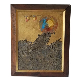 1960s Abstract Relief with Gold Leaf, Framed For Sale