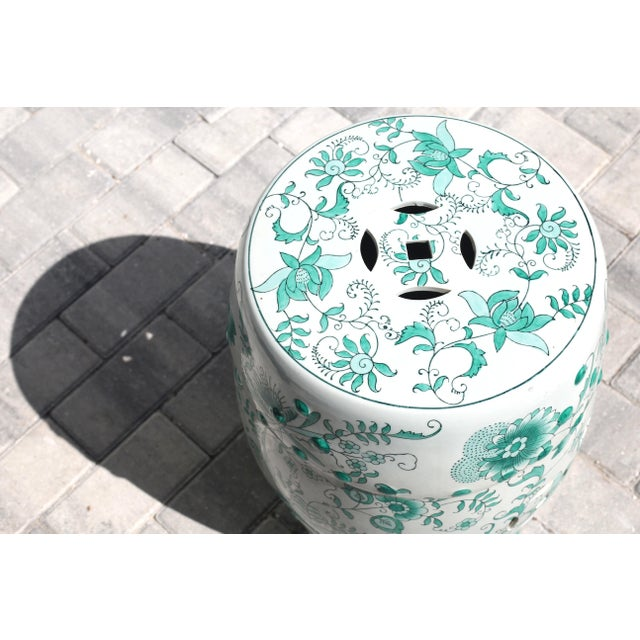 Green and White Garden Stool Table With Hand-Painted Flowers and Vines For Sale - Image 4 of 12