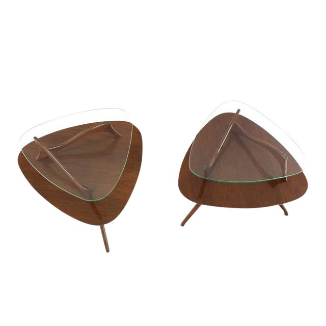 Pair of Round Triangular Tri Legged Two Tier Side End Tables For Sale