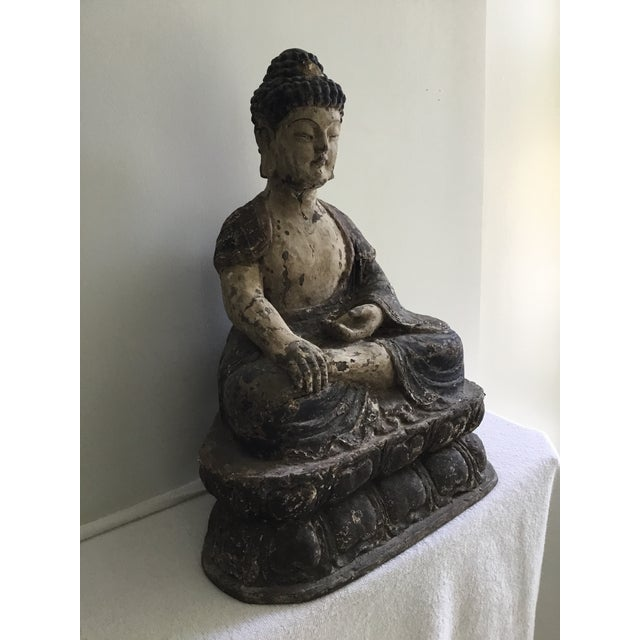 Antique Wooden Carved Buddha Figurine For Sale - Image 4 of 12