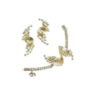 Gilded Fan Ab Crystal Bracelet Set, 1950s For Sale