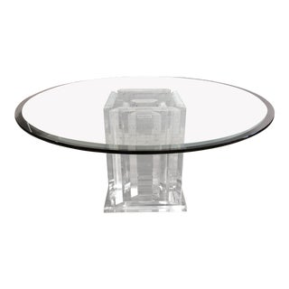 Lucite + Glass Nine-Pillar Glass Dining Room Table For Sale