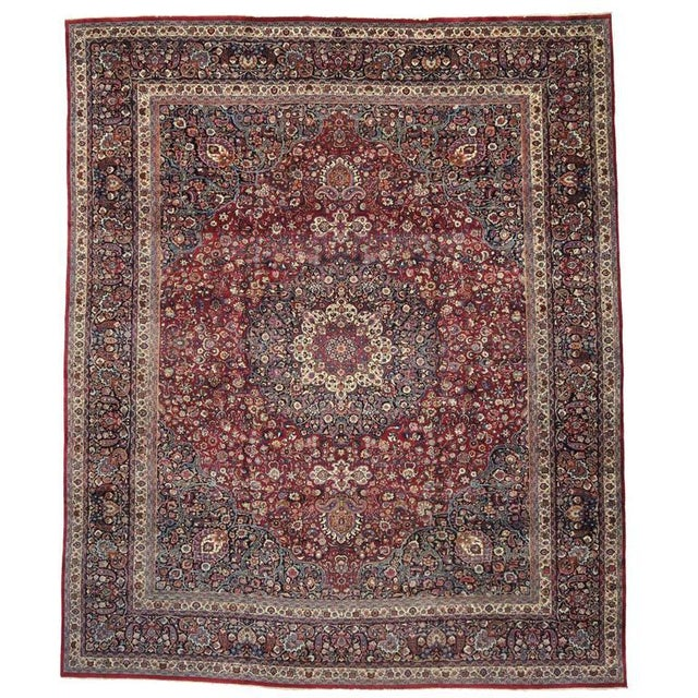 Antique Persian Mashad Rug with Art Nouveau Style For Sale - Image 9 of 9