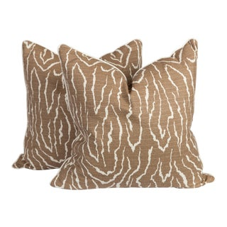 Coffee Faux Bois Linen Pillows, a Pair For Sale