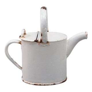 Antique French White Enamelware Watering Can For Sale