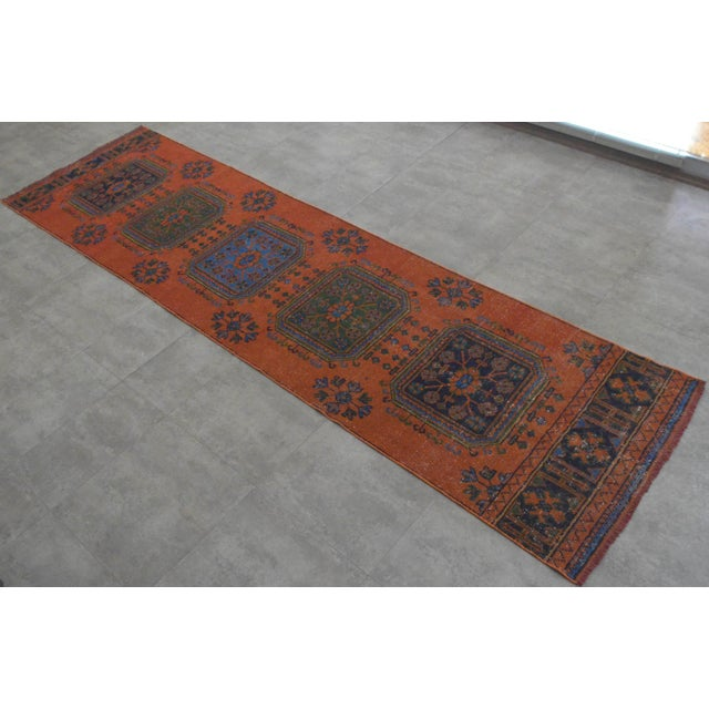 "Distressed Oushak Rug Runner - 3'1"" x 11'4"" - Image 10 of 10"