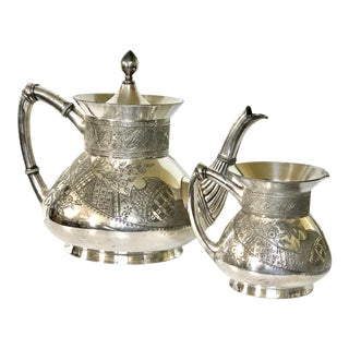 Meriden Teapot and Creamer For Sale