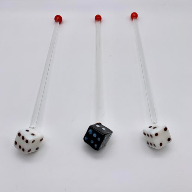 Glass Vintage Glass Dice Drink Stirrers For Sale - Image 7 of 8