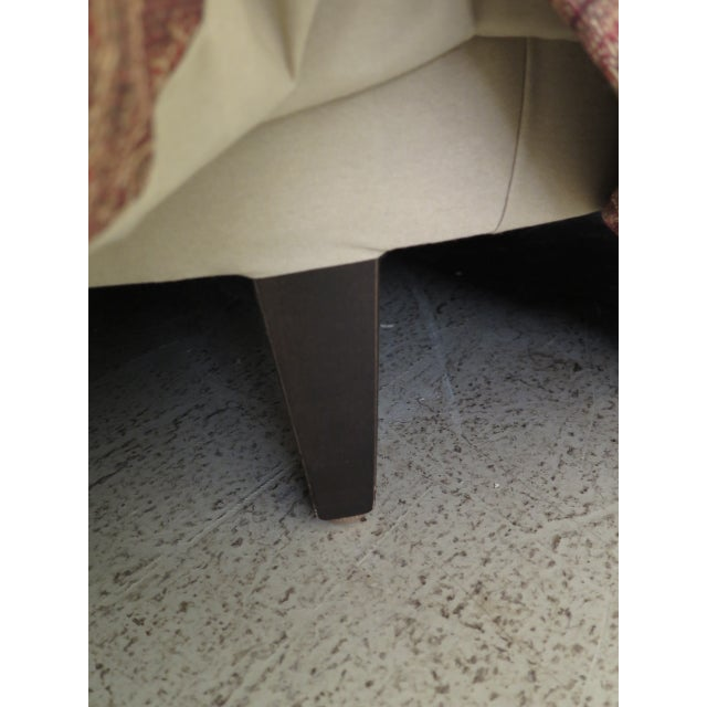 2000 - 2009 Century Round Tufted Upholstered Large Ottoman For Sale - Image 5 of 8