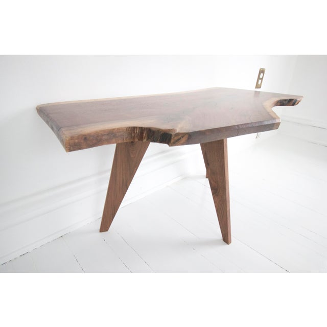 Solid Walnut Slab Coffee Table With Tapered Walnut Legs For Sale - Image 4 of 8